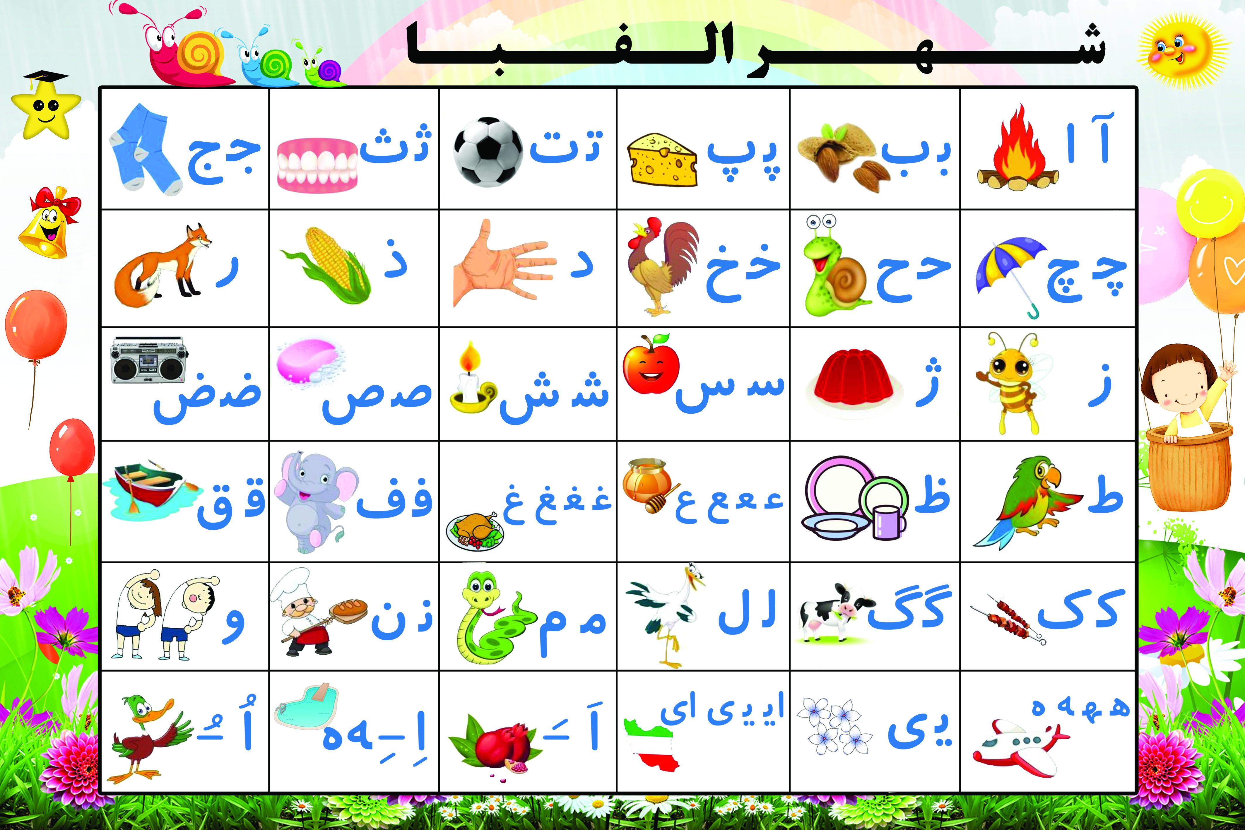 طرح لایه باز حروف الفبای فارسی